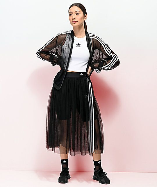 adidas 3 Stripe Tulle Black Skirt in 2020 | Outfits, Fashion