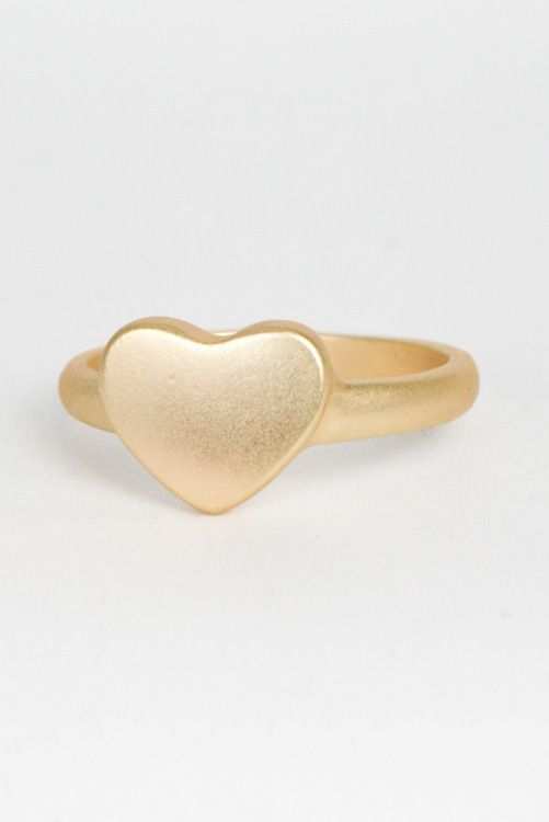 Follow Your Heart Ring $6 -- Metal heart ring in Matte Gold.    http://www.avaadorn.com/follow-your-heart-ring-gold-p-519.html
