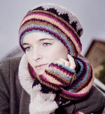 Modèle bonnet jacquard femme