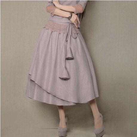 Purlish Gray Cotton skirt lace skirt women skirt fashion skirt vintage skirt--ST004