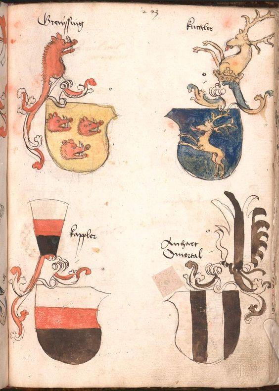 Wernigeroder (Schaffhausensches) Wappenbuch Süddeutschland, 4. Viertel 15. Jh. Cod.icon. 308 n  Folio 223r