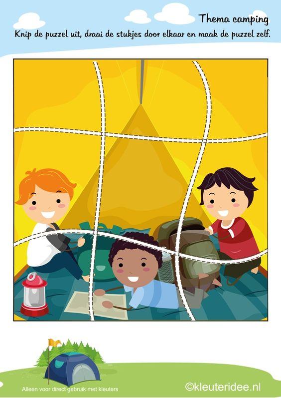Puzzel kamperen , thema camping, kleuteridee , Preschool puzzle, camping theme, free printable.