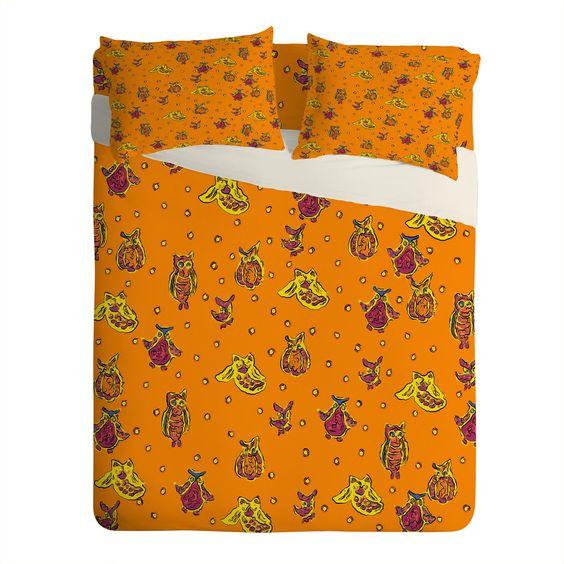 Renie Britenbucher Orange Owls Sheet Set Lightweight   DENY Designs Home Accessories