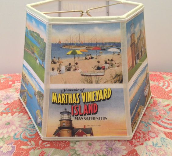Reserved for Nannie 2: Martha's Vineyard Lampshade Lamp Shade Vintage Postcards Beach Scenes - House Gift - 7x10x7 clip on - Nautical Home