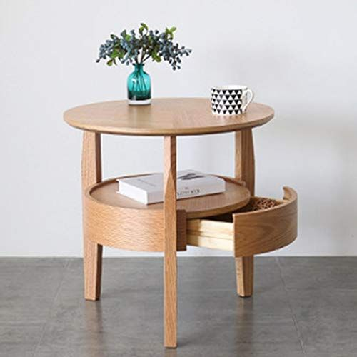 Round Coffee End Tables With Large Storage Drawer Oak Bed Side Table Luxurious Snack Table Sofa Couch Low Table Modern Coffee Table Furniture Luxury Furniture