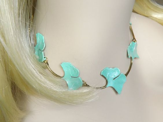 Ginkgo Leaf Necklace Elven Nature Jewelry Leaf by RenesJewelryArt