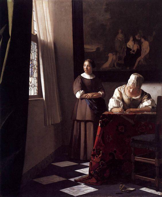Senhora escrevendo carta e sua empregada, 1670 Johannes Vermeer (Holanda, 1632-1675) óleo sobre tela, 72 x 59 cm National Gallery, Dublin, Irlanda