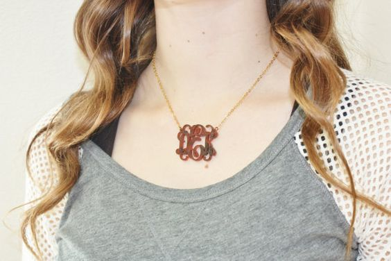 Tortoise Acrylic Monogram Necklace