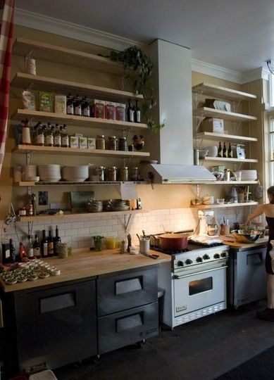 Like the butcher block counters, open shelves... but bottom cabinets are too dark.