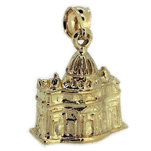 14k Yellow or White Gold 3-D The Vatican Rome Italy Charm 4931 at generousgems.com #vatican #popefrancis