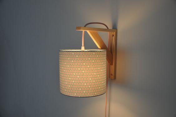 lampe querre applique murale abat jour rose et vert cordon rose fil rose clair d co. Black Bedroom Furniture Sets. Home Design Ideas