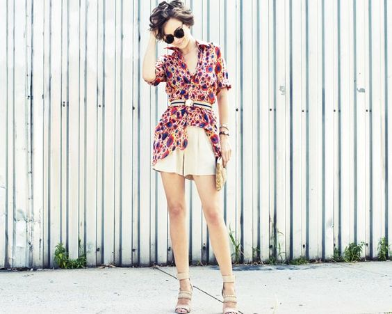 long floral top over shorts w/neutrals.