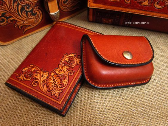 Passport cover leather tooling baroque scrolls
