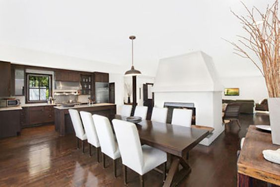 Tour Scarlett Johansson's New Hamptons Hideaway // Dining table and dark wood