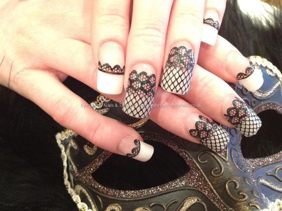 Acrylics and lace | ... acrylic nails with black lace nail art by Elaine Moore on 26 February