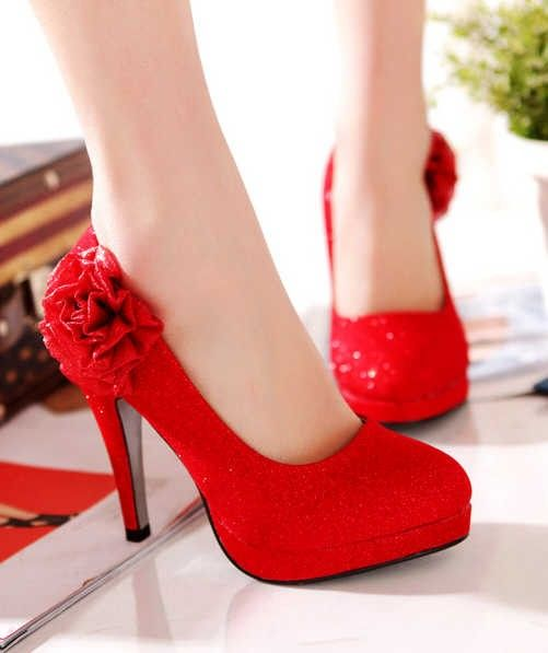 Red wedding heels with flowers, bling bling wedding heels ...