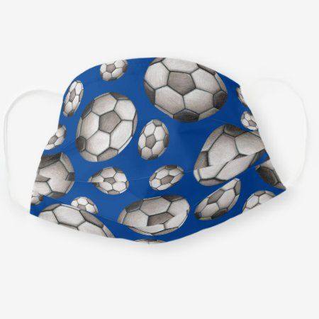 Sports Soccer Ball Blue And White Pattern Cloth Face Mask Zazzle Com In 2020 White Patterns Clothing Patterns Blue And White