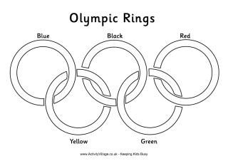 Olympic rings colouring in page for kids - it tells you which colour goes where.