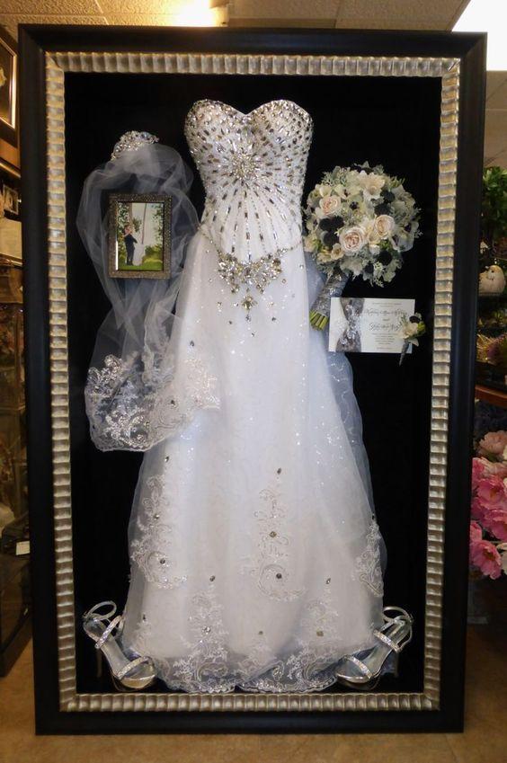 Imposing Ideas Wedding Dress Display Case Framed Preserved Freeze