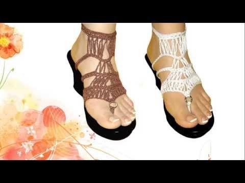 sandalias tejidas a crochet con suela para adulto paso a paso \u0026quot; blanca \u0026quot; , YouTube