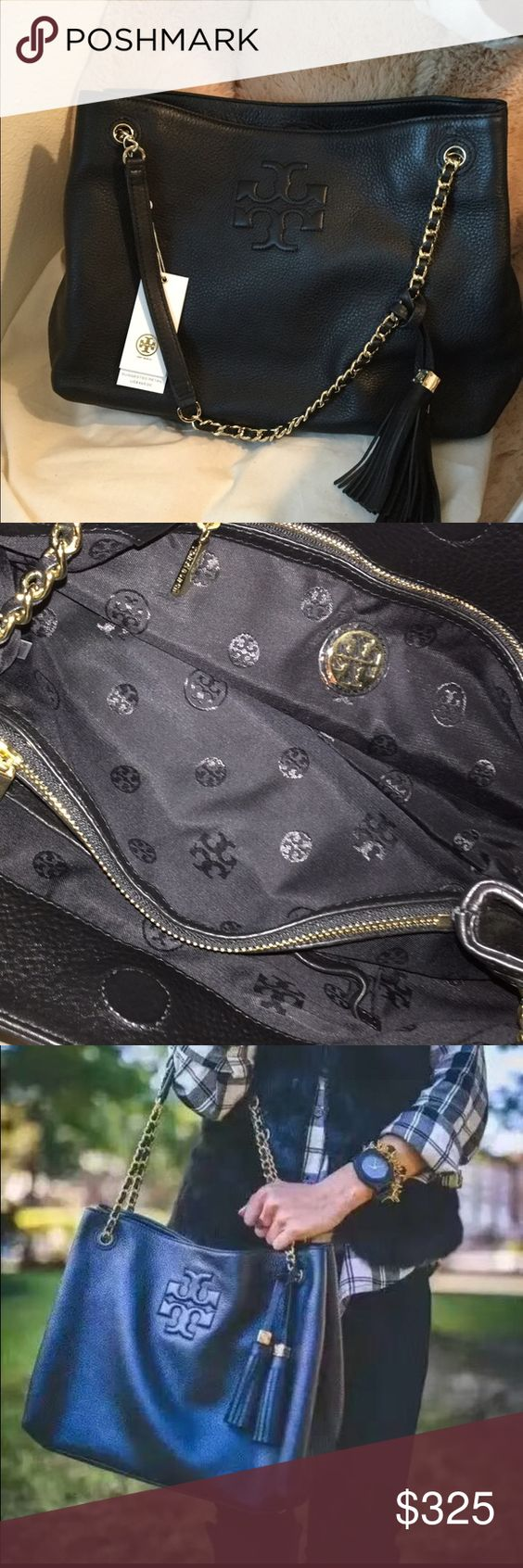 "Tory burch Marion tote Holds a large wallet, a phone, a cosmetic case and a 10"" tablet or an extra pair of shoes Magnetic snap closure Adjustable chain-and-leather shoulder strap with 9"" (24.5 cm) drop 1 interior center zip compartment, 1 zipper pocket, 2 open pockets, 1 snap pocket Height: 9.96"" (26 cm) Length: 13.5"" (34 cm) Depth: 5.9"" (15 cm) Tory Burch Bags Totes"