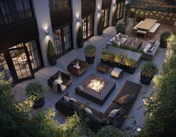 a rooftop garden at night  #garden #rooftopGarden #roof #homeImprovements