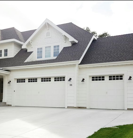 Garage door options all white house black roof white for Farm style garage doors