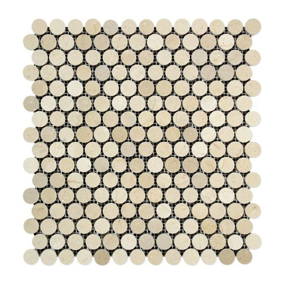 Crema Marfil Marble Polished Penny Round Mosaic Tile