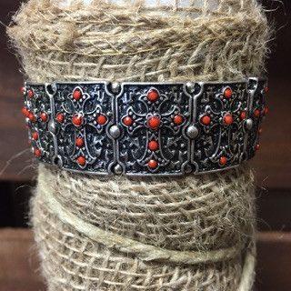 Red Stone Cross Stretch Bracelet