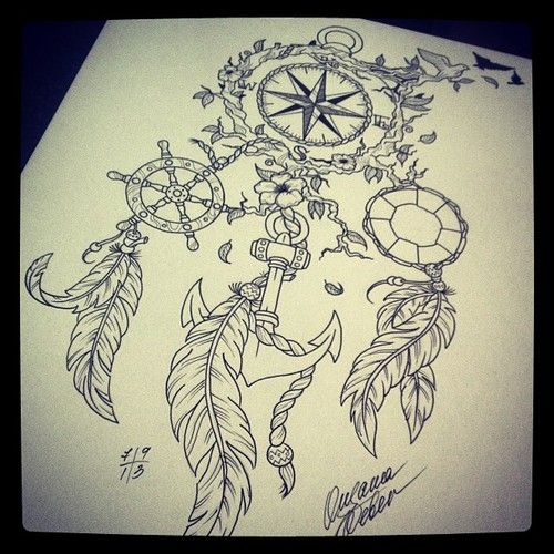 Drawings Girl Tattoos Art Dreamcatcher Compass Tattoo White