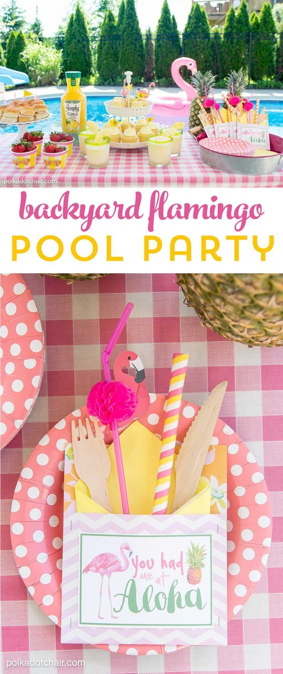 Lots of fun ideas to throw a backyard flamingo themed pool party, including free printable silverware containers and a recipe for pineapple and mango virgin pina coladas: