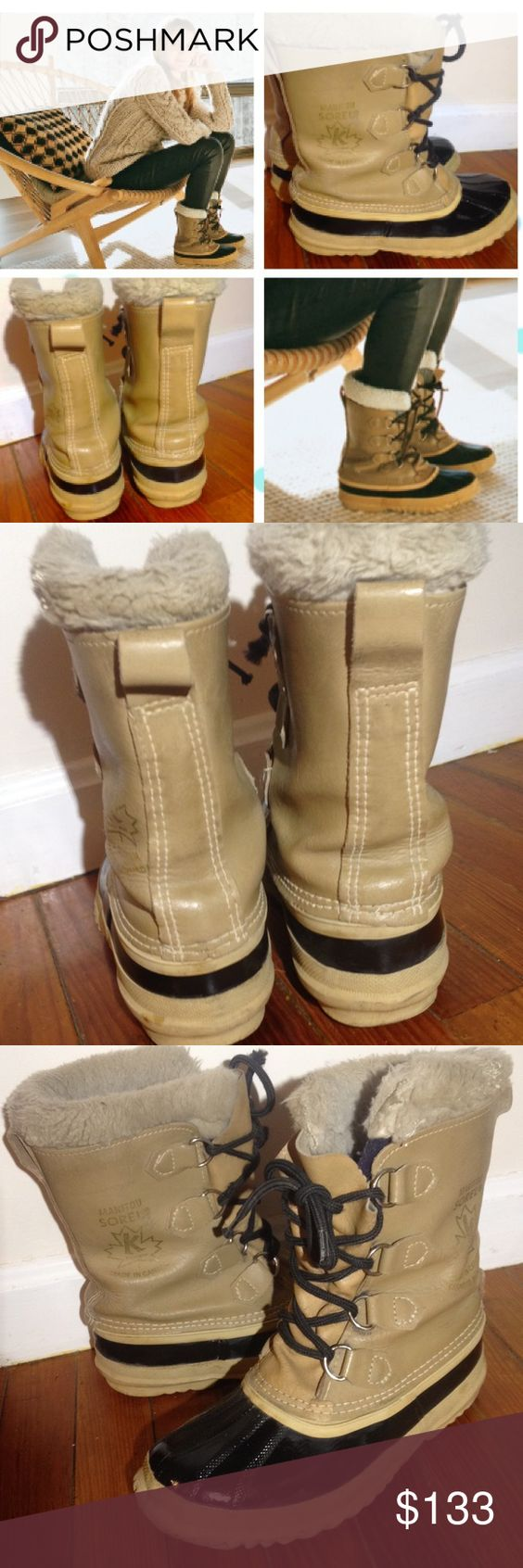 "❤️🎉 ❤️❤️❤️Sorel Insulated Duck Boot size 8.5 ❤️🎉😘 GORGEOUS GREAT CONDITION TAN AND BLACK Sorel Canada 8"" Duck Boot women's size 8.5 Waterproof, insulated! Perfect for fall and winter weather ! Super super nice boots lace up front super comfortable too Sorel Shoes Winter & Rain Boots"