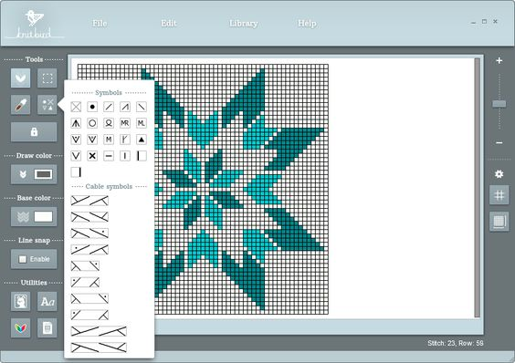Knitting Drawing Software : Knitbird software for designing knitting charts