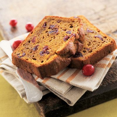 LIBBY'S® Pumpkin Cranberry Bread | Meals.com -  Enjoy this irresistibly moist and flavorful pumpkin cranberry bread. One batch makes two large loaves; one for now and one for later! Or, bake into mini loaves. They make great gifts for teachers, neighbors and friends! #pumpkin #pumpkinbread