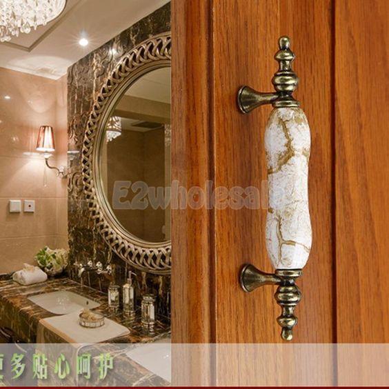 125mm Marbling Ceramic Door Knob Cupboard Cabinet Drawer Dresser Pull Handle | eBay