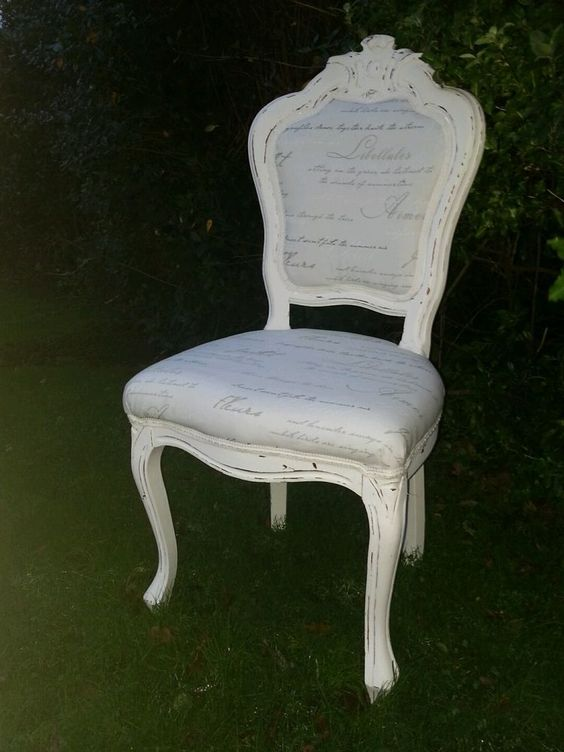 Shabby chic Louis style french script chair in Home, Furniture & DIY, Furniture, Chairs | eBay