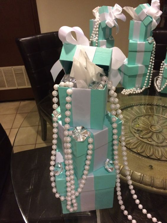 Blue Box Centerpieces And Tiffany And Co On Pinterest