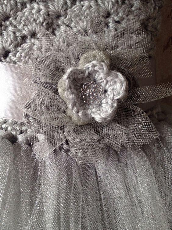 Gray flower girl tutu dress flower girl tutu dress crochet by Qt2t