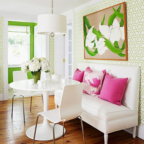 Pink and green breakfast nook.