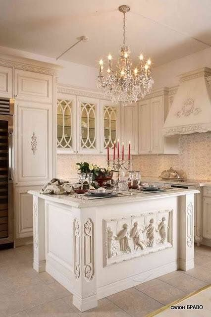 White kitchens and kitchens on pinterest for French country white kitchen cabinets