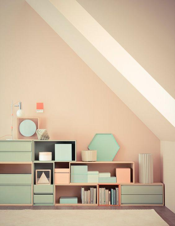 Meubles et boîtes pastel - Pinterest