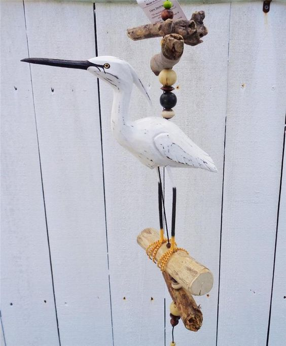 NAUTICAL BEACH EGRET CRANE BIRD LARGE NATURAL DRIFTWOOD WIND CHIME DECORATION #Unbranded