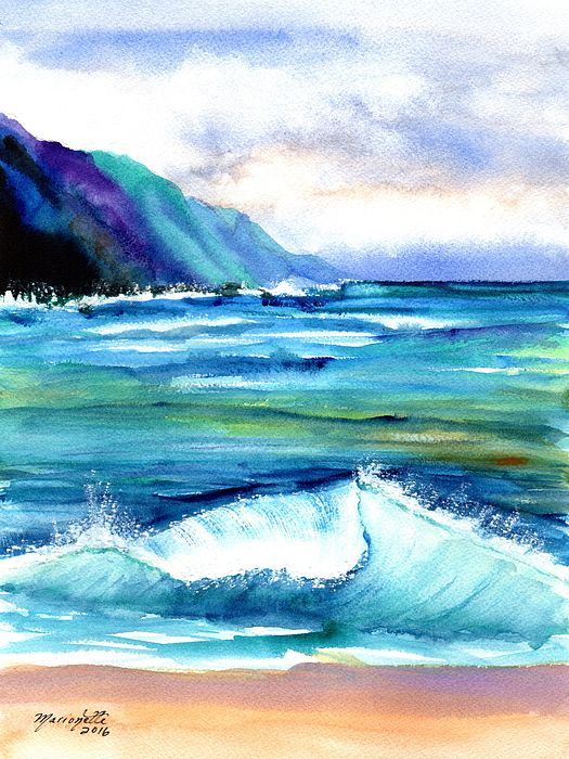 Hanalei Sea In 2020 Beach Scene Painting Beach Wall Art Beach