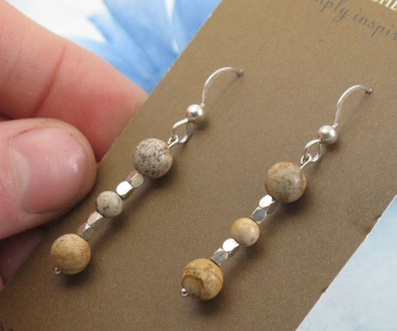 Neutral Tones  Jasper Earrings with sterling by KathrynRiechert, $22.00