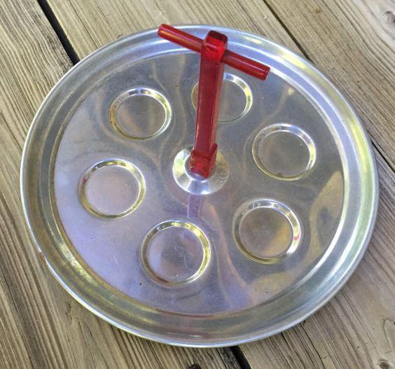 SALE Chrome Shot Glass Tray  with Bakelite by TreasureofMemories