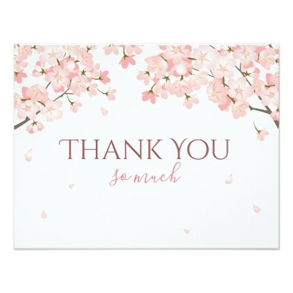 Pretty Pink Spring Sakura Japanese Cherry Blossoms Thank You Card Zazzle Com In 2021 Japanese Cherry Blossom Cards Cherry Blossom