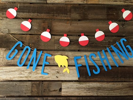 Gone Fishing Banner- Mini 2 1/2 feet long- Fishing Party, Baby Shower, Photo Prop, Birthday Party