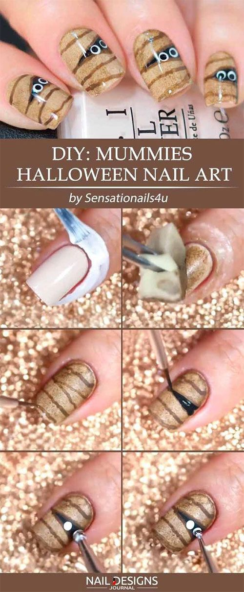 Easy Step By Step Halloween Nails Art Tutorials For Beginners 2019 11 Easy Halloween Nails Design Halloween Nail Designs Halloween Nails