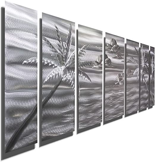 Large Silver Palm Tree Metal Wall Art 68 Quot X 24 Quot Tropical Wall Decor Modern Na In 2020 Palm Tree Metal Wall Art Tropical Wall Decor Tropical Metal Wall Art