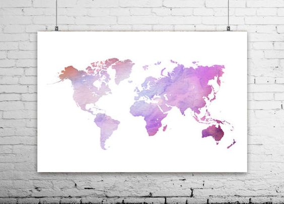 Pastel world map watercolor world map canvas prints by Ikonolexi